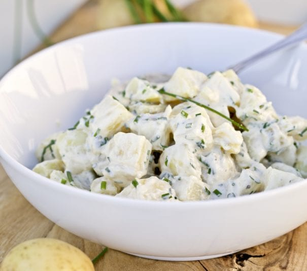 Simple Potato Salad Tarragon and Chives in a bowl
