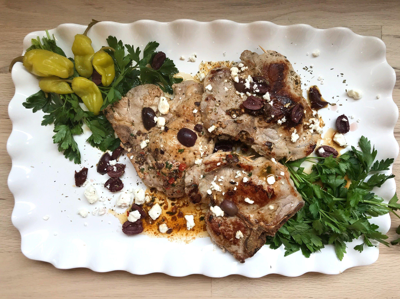 Pork Chops, Greek, Greek food, Pork chops, Best Greek Stuffed Pork chops