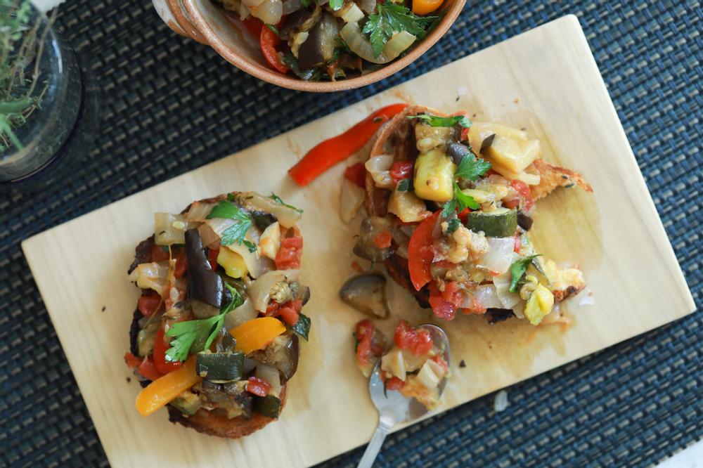 ratatouille, summer vegetables, summer veggies, toast, bread, authentic ratatouille, healthy, Italian, French, cooking, cuisine,