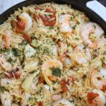 orzo pasta, shrimp, 30 minute meals, authentic italian, pasta recipe, shrimp and pasta, artichoke and sun-dried tomatoes