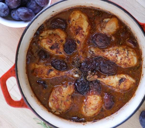 chicken dinner, braised chicken, chicken and plums, chicken in wine sauce, chicken drum sticks, one pot meal