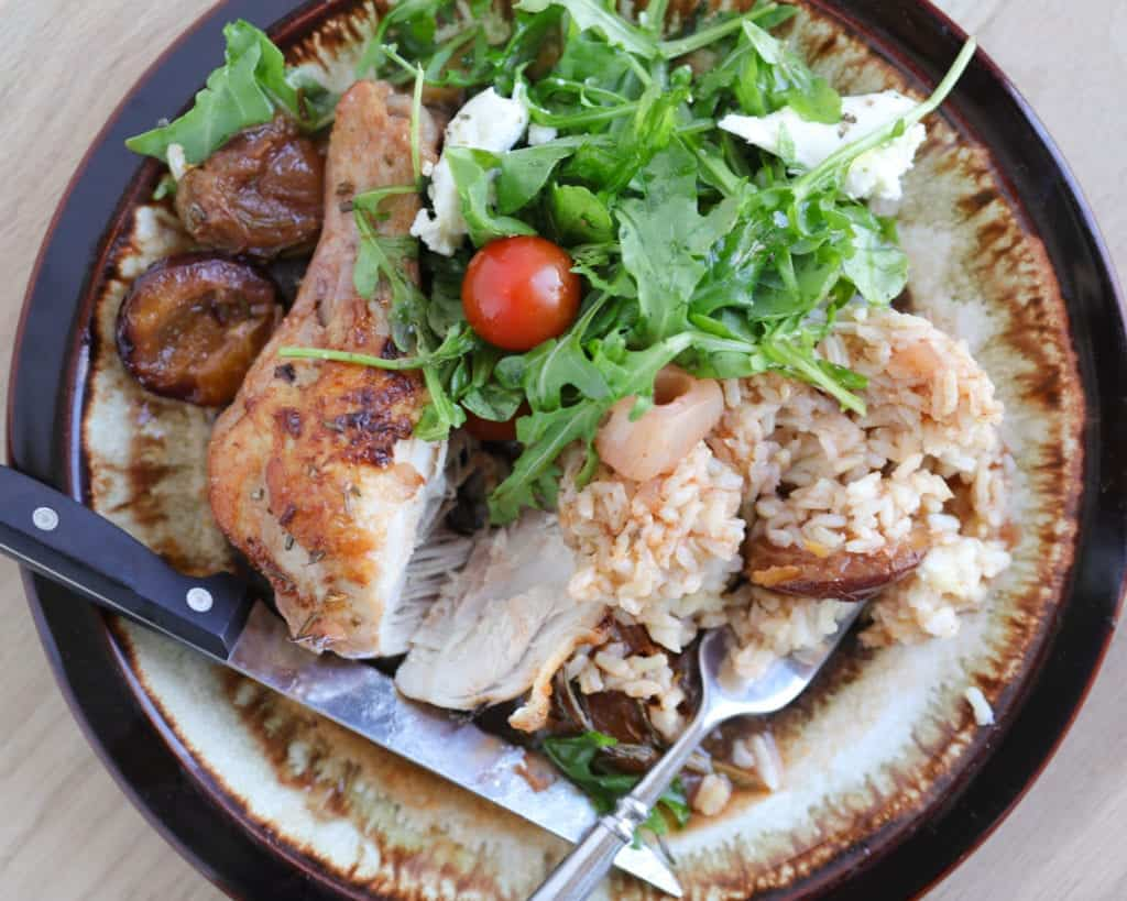 Chicken dinner, braised chicken in plums, chicken one pot meal