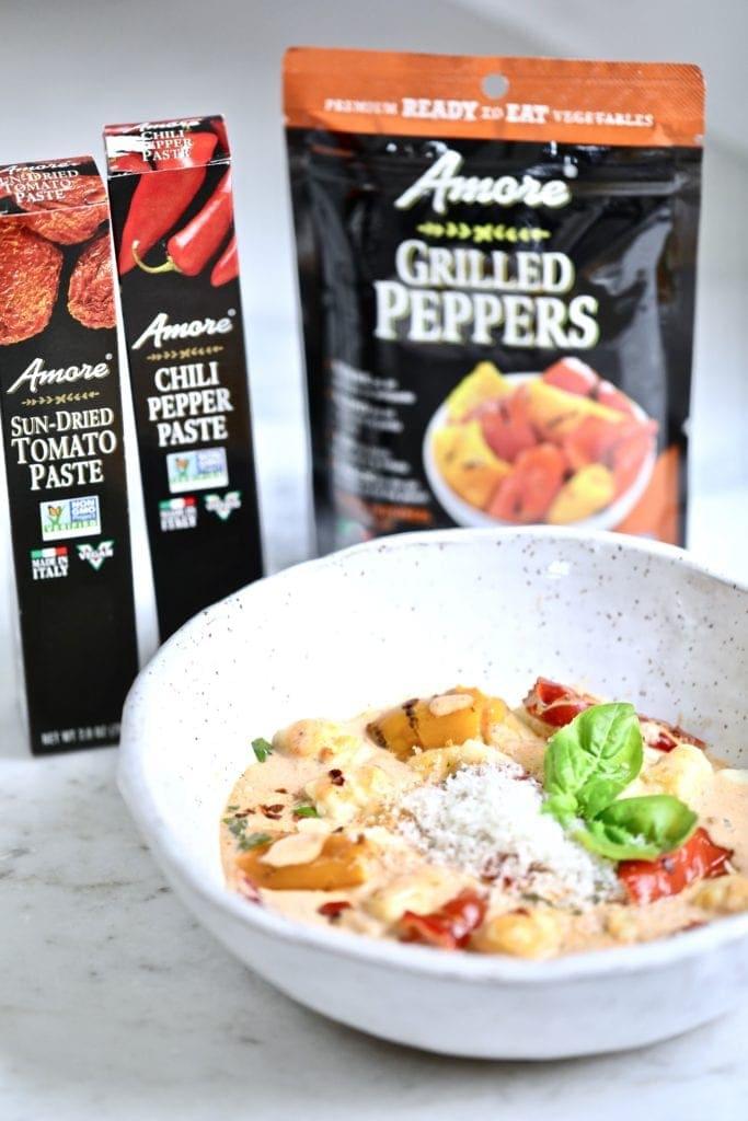 Boel of pasta with cream sauce