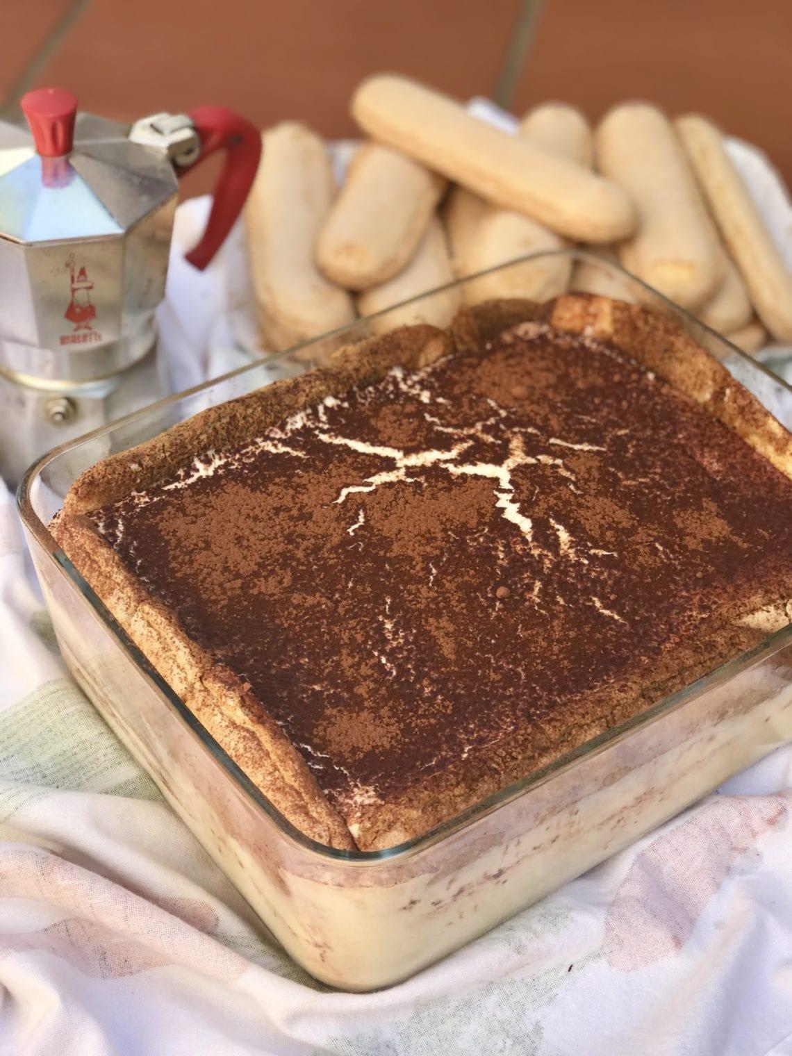 tiramisu with coffee pot photo