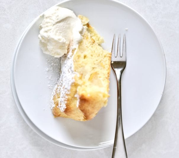 pear cake on plate