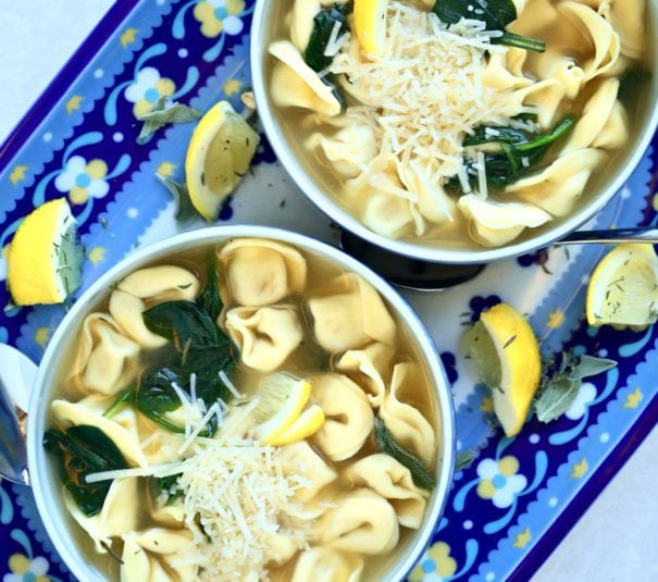 tortellini soup-bowl-cheese