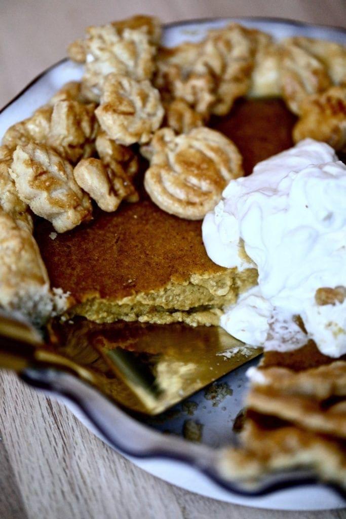 Pumpkin pie-whipped cream-slice