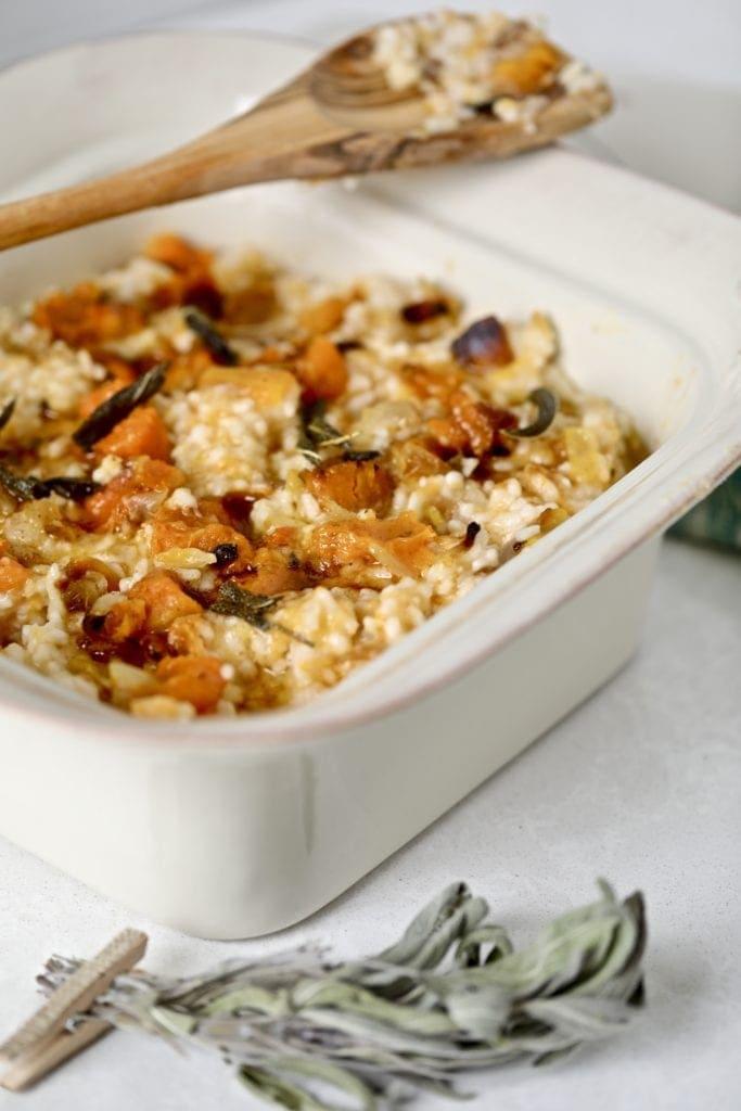 butternut squash risotto in a bowl
