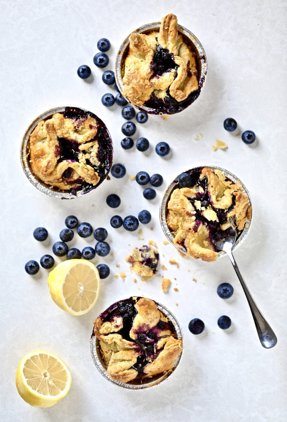 blueberry mini pies on a plate