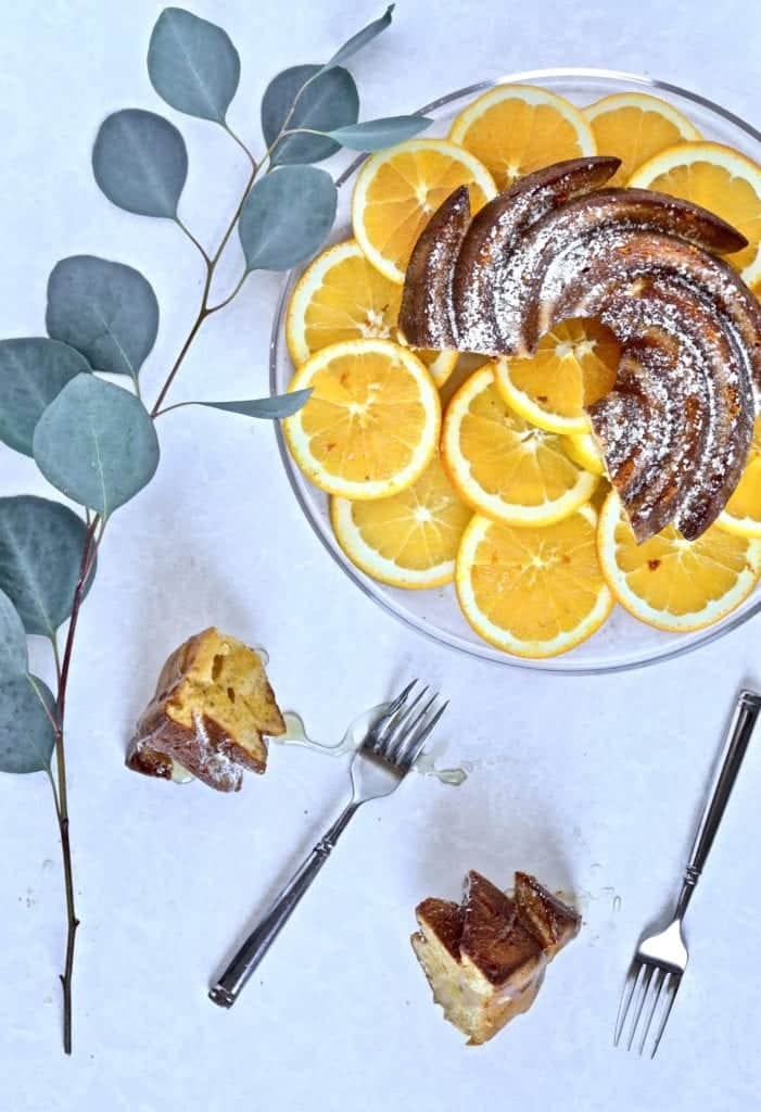 cake, oranges, plate