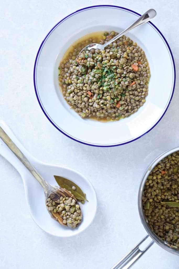 Italian Lentils in a bowl and spoon