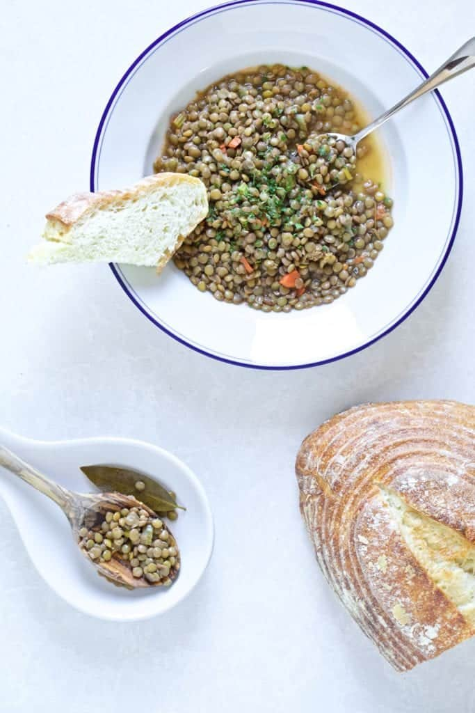 lentils on plate with bread