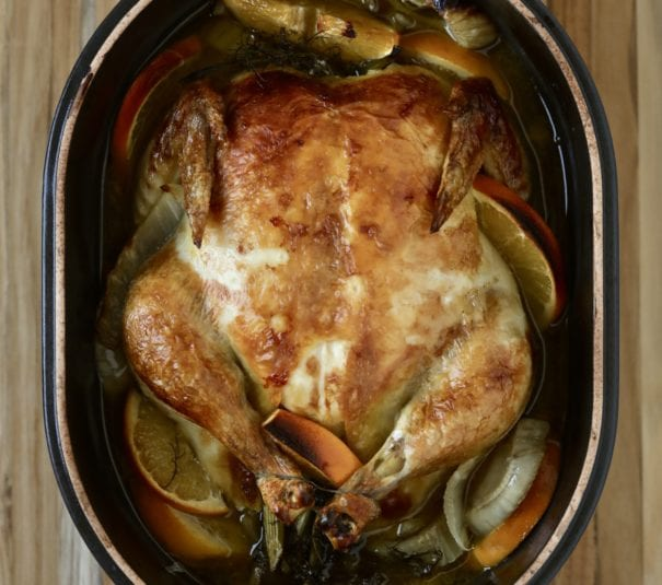 Roast Chicken with Citrus and Fennel in pot