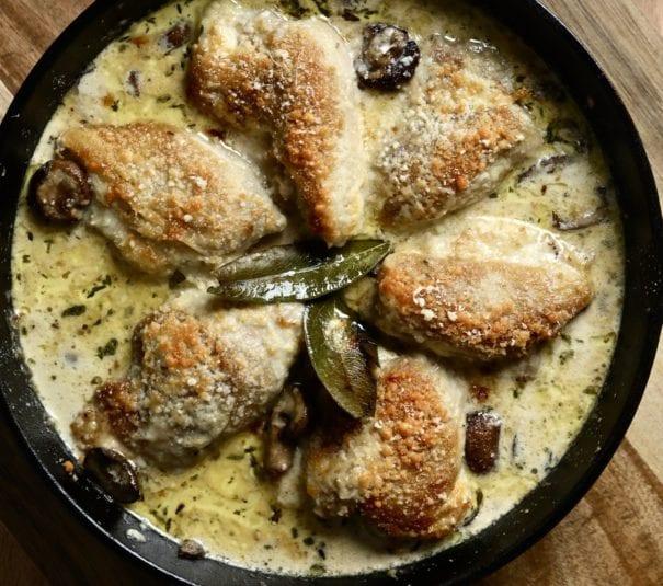 cream sauce, chicken, mushrooms, easy dinner