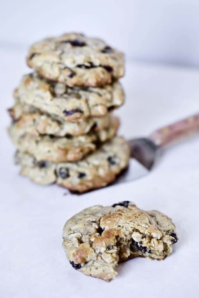 oatmeal- raisin cookies on plate