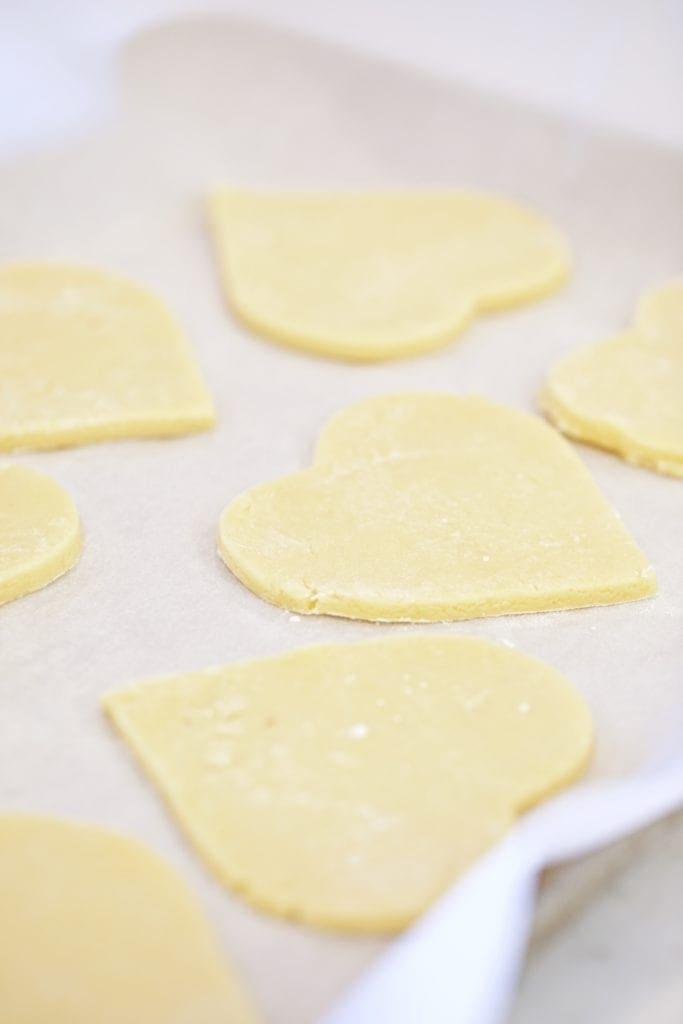 sugar cookies- heart shaped- cookie dough