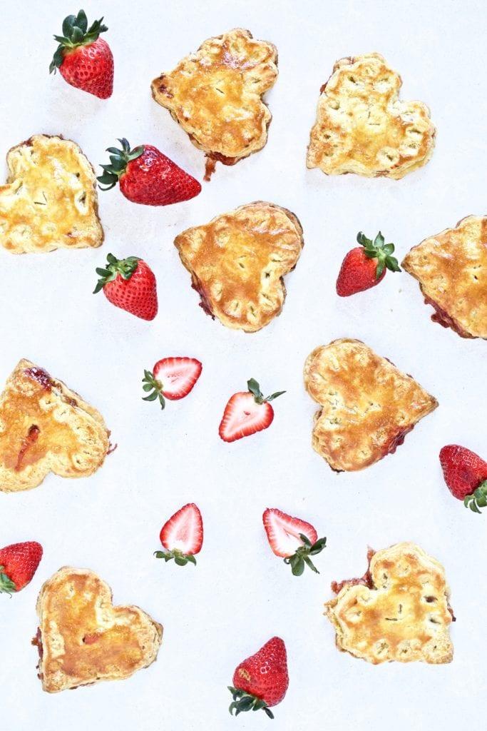 heart shaped mini pies- strawberry jam