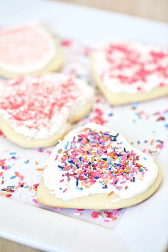 sugar cookies- heart shaped- frosted