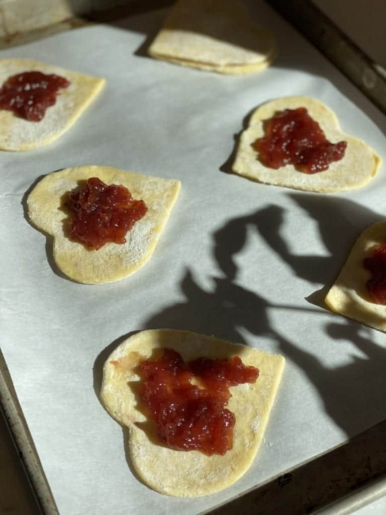 hand pies- heart shaped- jam filled