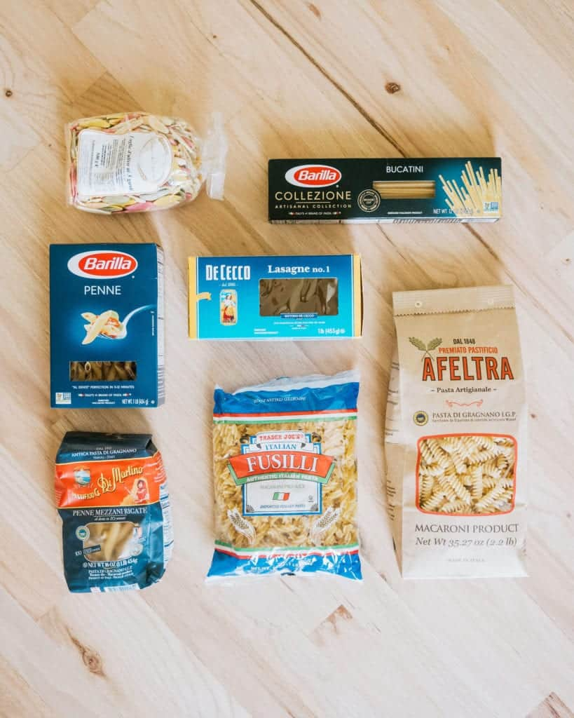 Different brands of pasta boxes to show that the variety and quality matters