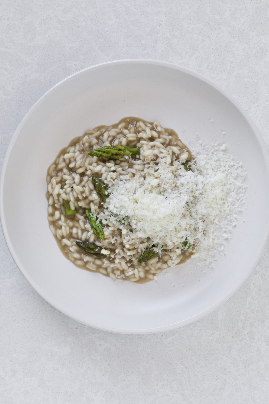Asparagus Risotto with mushroom broth and parmigiano cheese