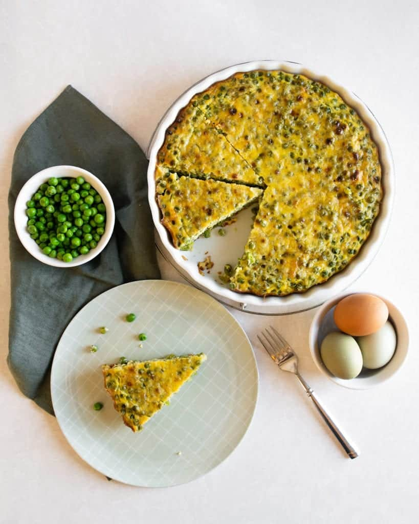 fresh farm eggs and final dish with peas