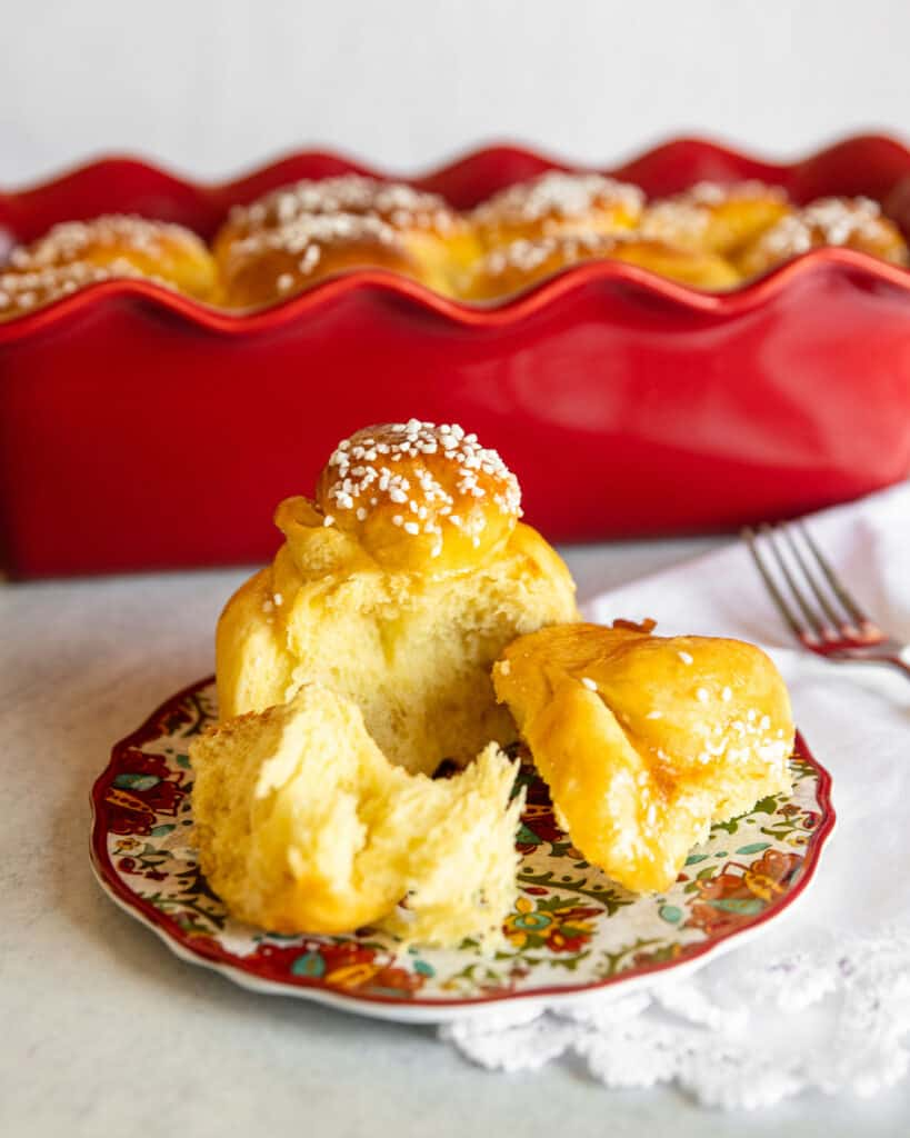 sweet  bread on a red plate
