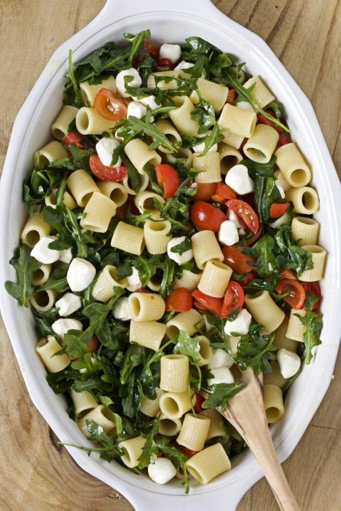 Italian pasta salad recipe in a serving dish