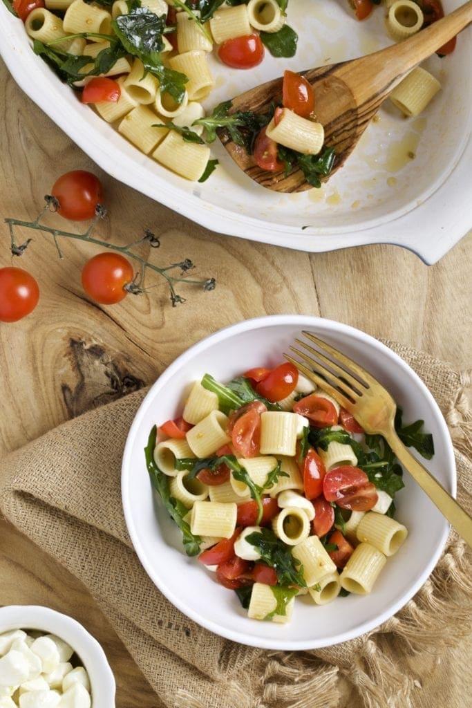 Italian pasta salad recipe in a serving bowl