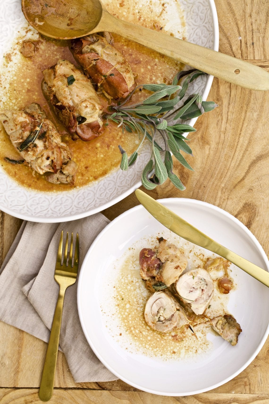 stuffed chicken thighs on a plate