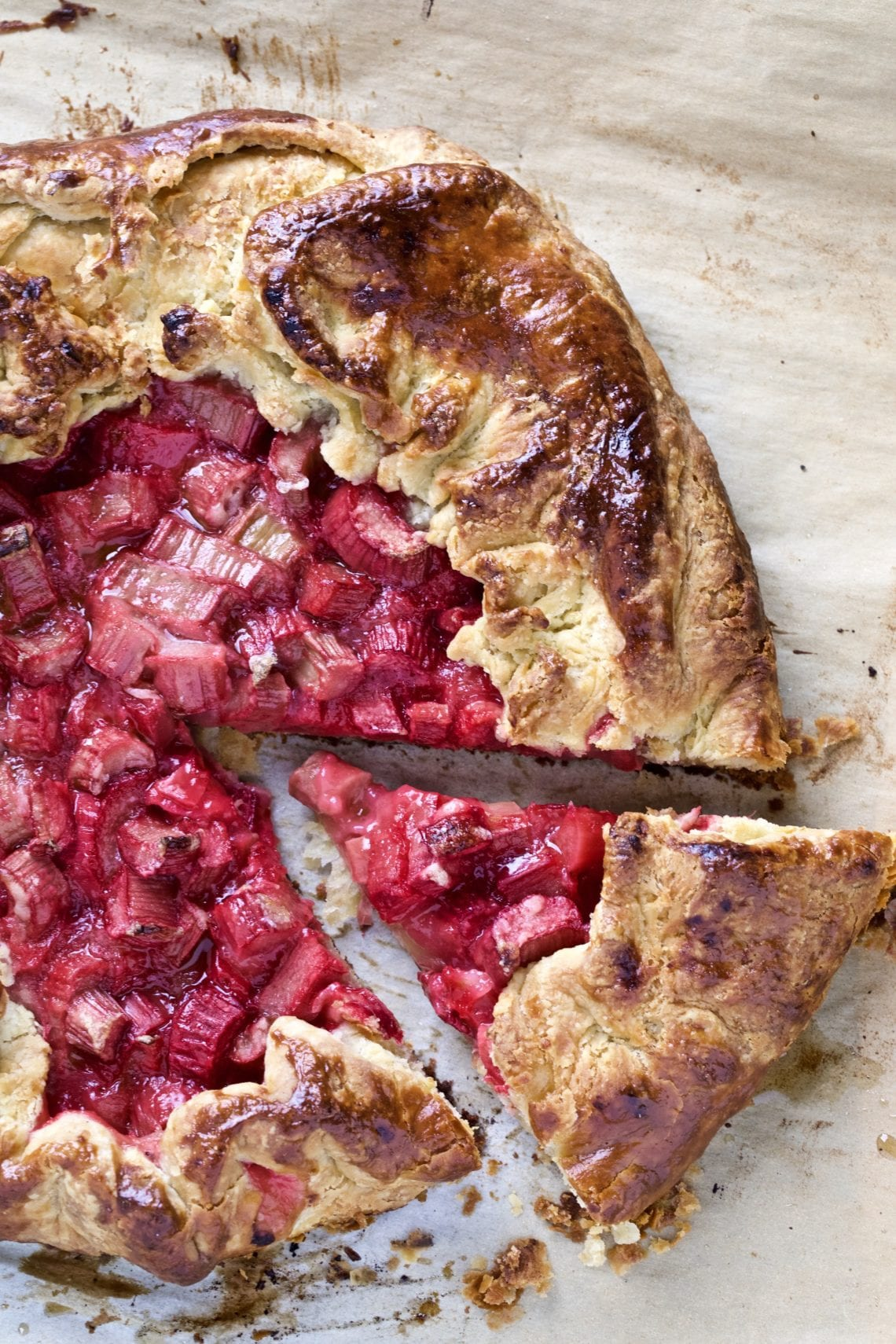 Rhubarb galette with all butter pie dough