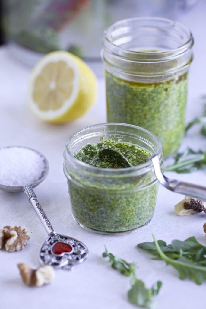 Arugula Pesto with Ingredients