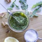 Arugula pesto ingredient shot