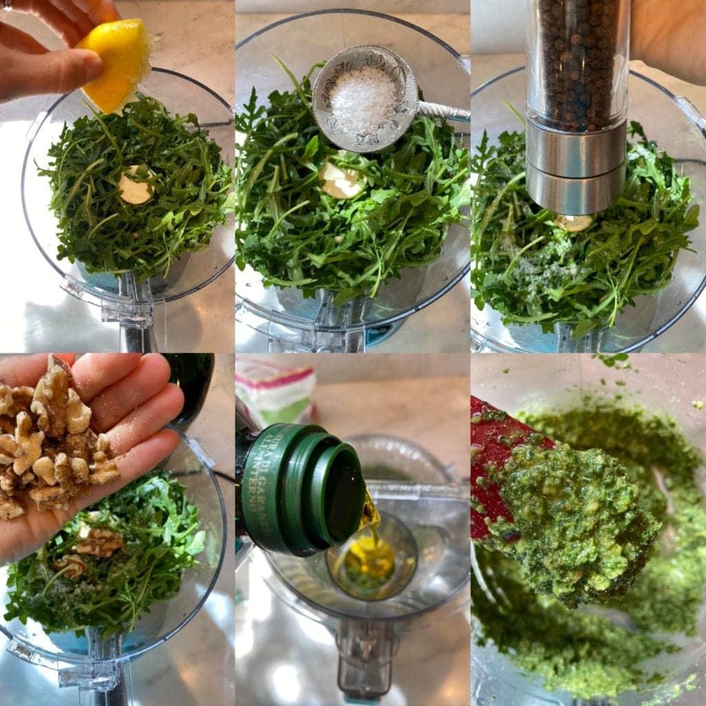 Arugula pesto process shot with ingredients