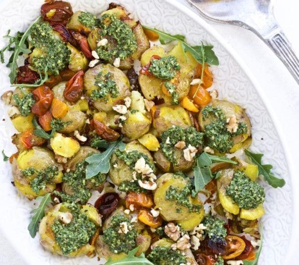 Pesto Smashed Potatoes and Roasted Tomatoes
