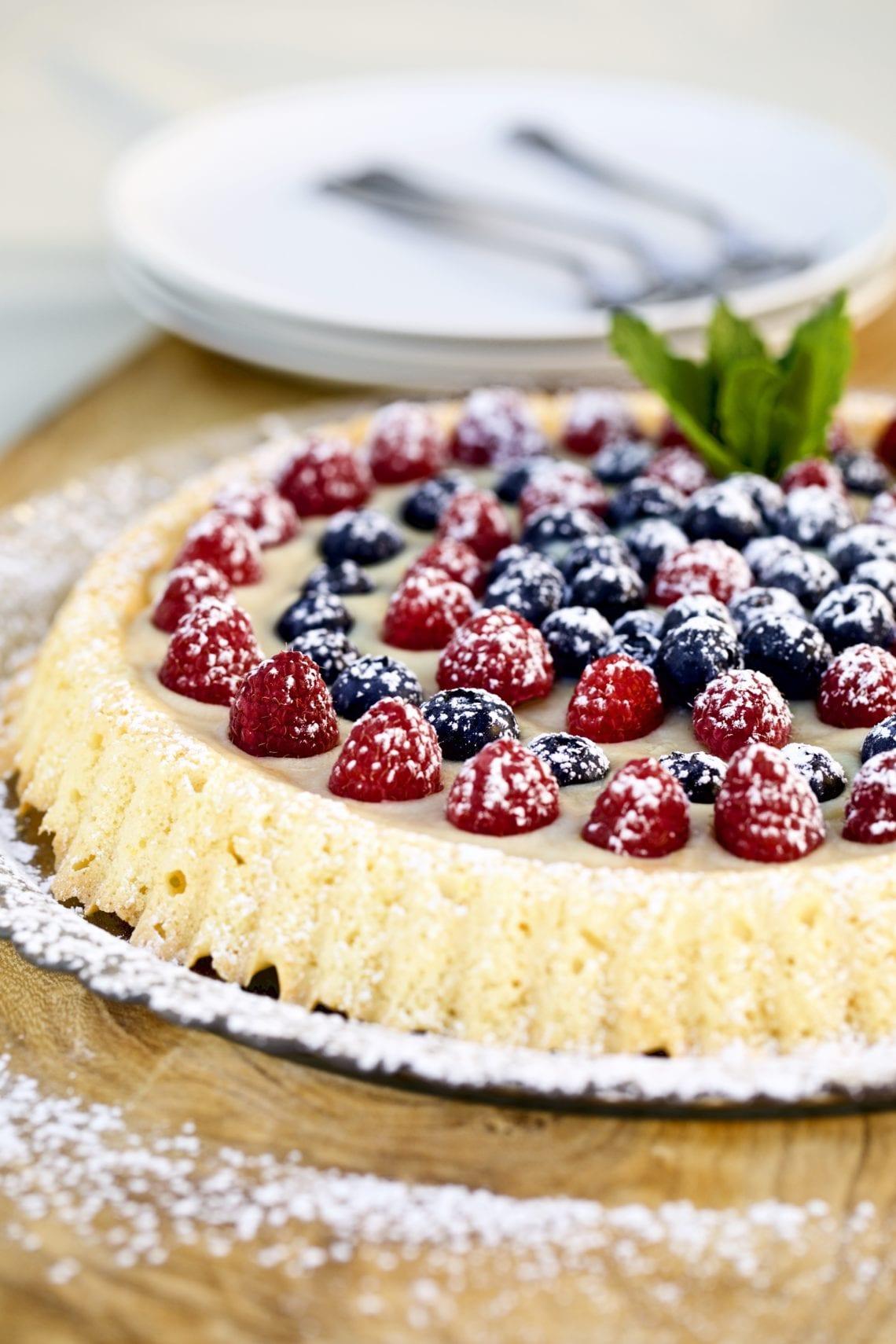 Almond Sponge Cake with Italian Pastry Cream and Berries