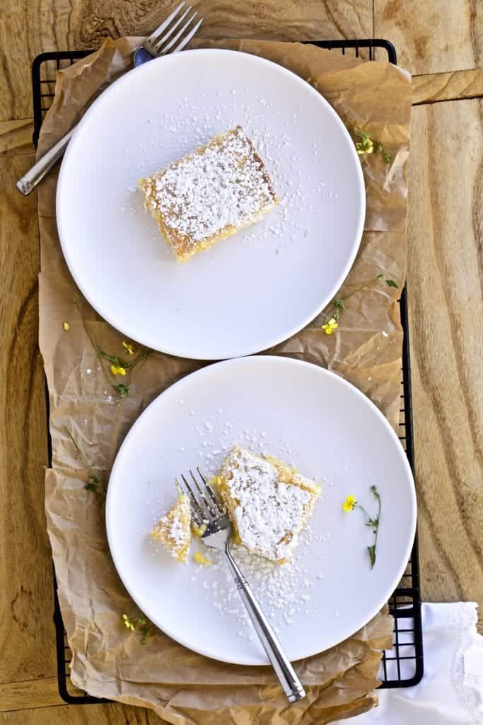 lemon bars on a plate