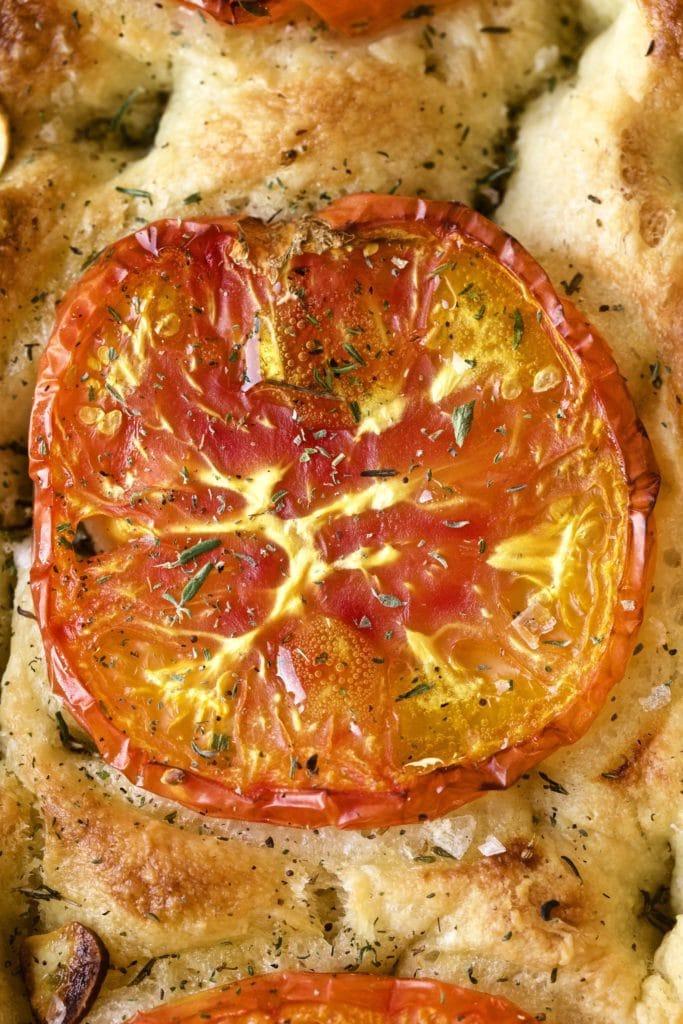 close up tomato focaccia