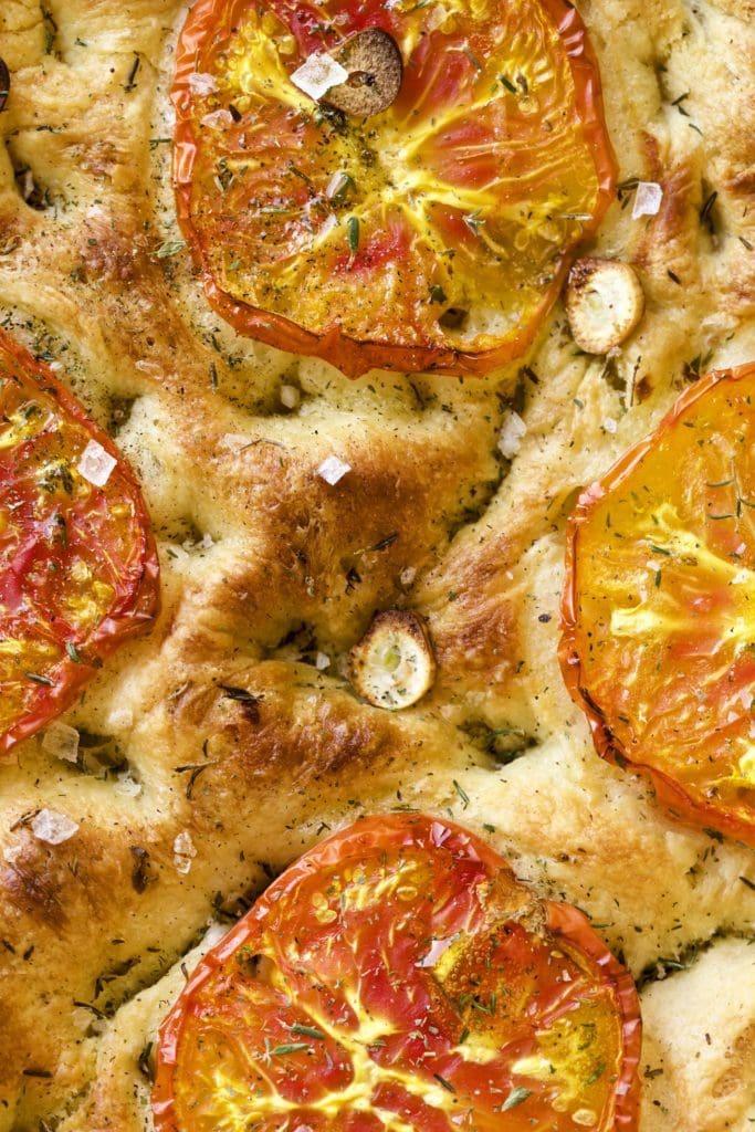 Tomato Focaccia close up