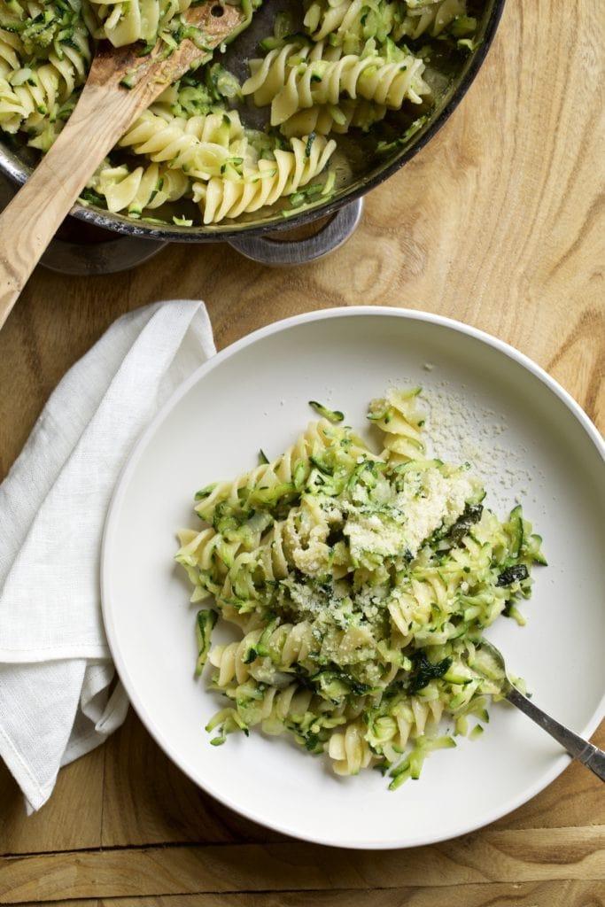 shredded zucchini and fusilli pasta