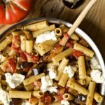 pan or eggplant and tomato pasta in a pan