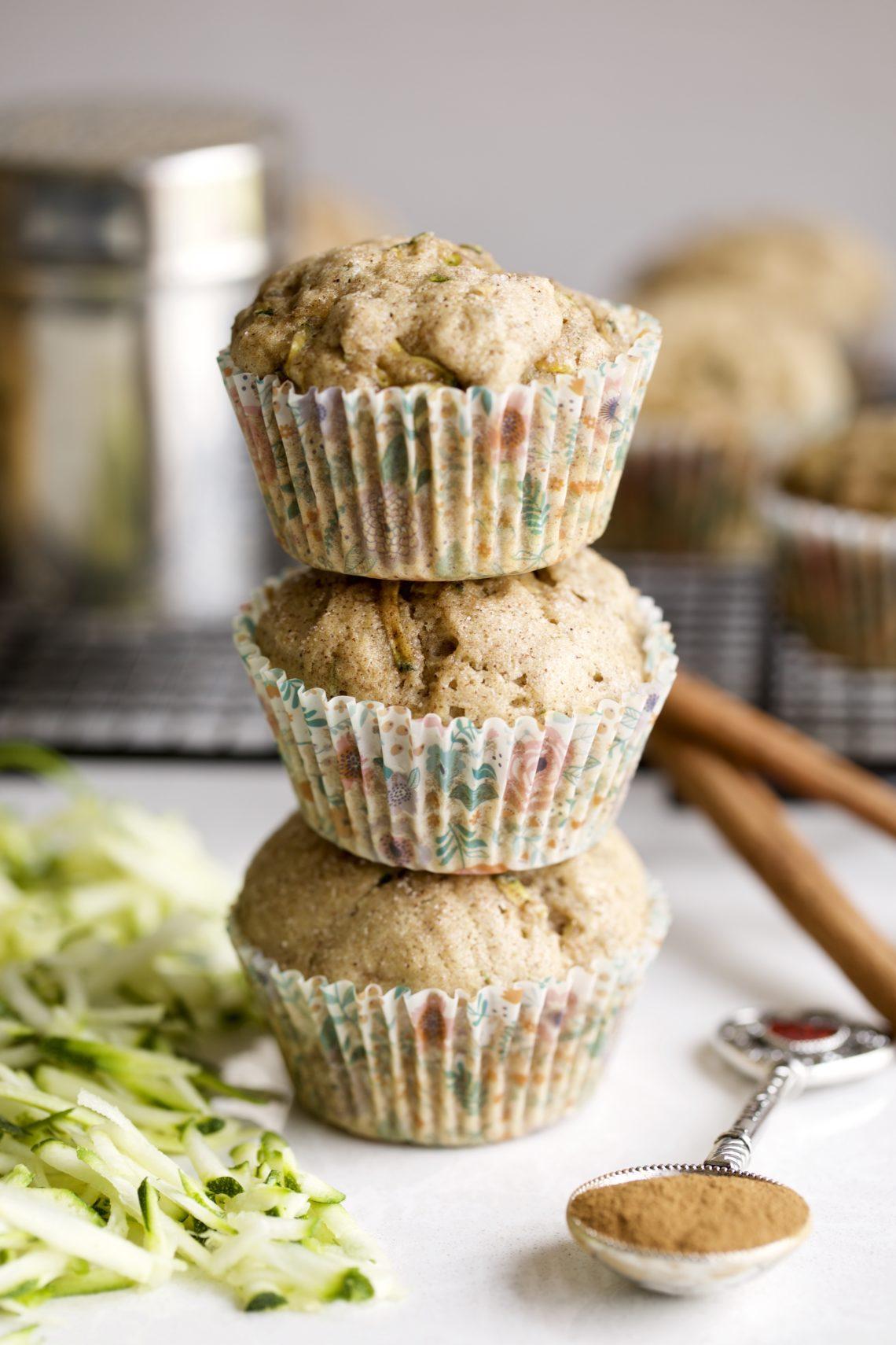 cinnamon zucchini muffins stacked