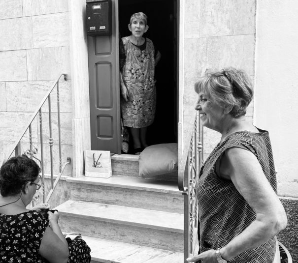two women in Italy black and white photo