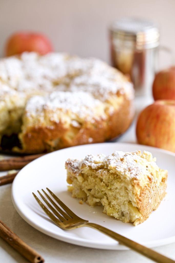 Italian Apple Cake one slice on a plate