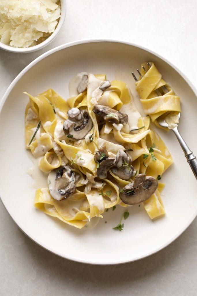 Creamy Mascarpone Mushroom Pappardelle Pasta on a plate